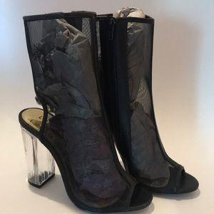 Liliana Black Mesh ankle booties clear Heels